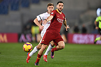 Krzysztof Piatek of AC Milan and Kostas Manolas of AS Roma compete for the ball during the Serie A 2018/2019 football match between AS Roma and AC Milan at stadio Olimpico, Roma, February 3, 2019 <br />  Foto Andrea Staccioli / Insidefoto