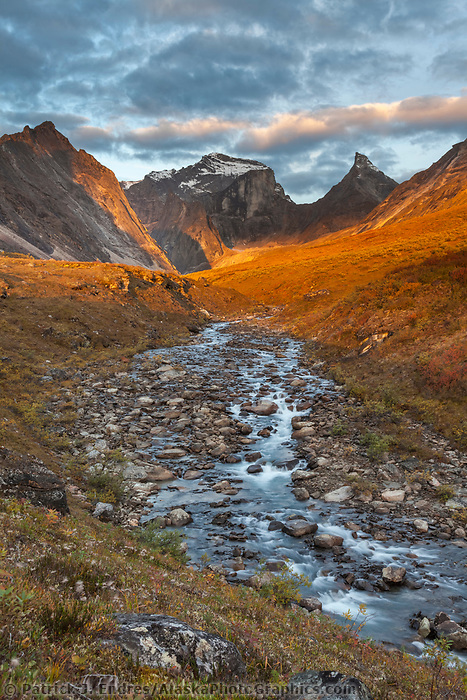 Morning light on Xanadu and Arial peaks, Arrigetch creek, Arrigetch Peaks, Gates of the Arctic National Park, Alaska.