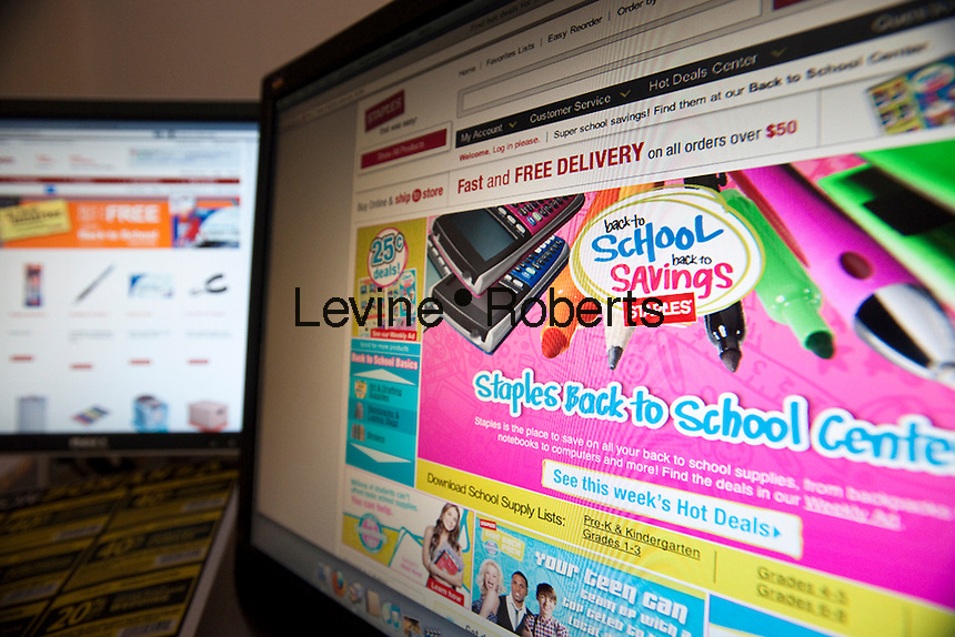Back to school supplies are seen on the websites of Staples, right, and Office Depot on Monday, July 19, 2010. An estimated 30.8% of households will shop online this year compared with 22.2% last year. (© Richard B. Levine).