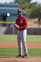 Los Angeles Angels pitcher Crusito Mieses (39) during an instructional league game against the Oakland Athletics on October 9, 2015 at the Tempe Diablo Stadium Complex in Tempe, Arizona.  (Mike Janes/Four Seam Images)
