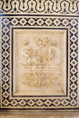 Jaipur, India. The Amber Fort with beautiful marble flower carving.