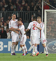 3.04.2012 Barcelona, Spain. UEFA Champions League , Quarter finals 2nd leg,       picture show  Milan team after scoring  during match between FC Barcelona against AC MIlan AT Camp Nou