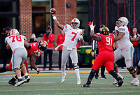 Ohio State Buckeyes quarterback Dwayne Haskins Jr. (7) throws a deep ball to Ohio State Buckeyes wide receiver Johnnie Dixon III (1) for a catch against Maryland Terrapins during the 4th quarter of their game at Capital One Field at Maryland Stadium in College Park, Maryland on November 17, 2018. [Kyle Robertson/Dispatch]