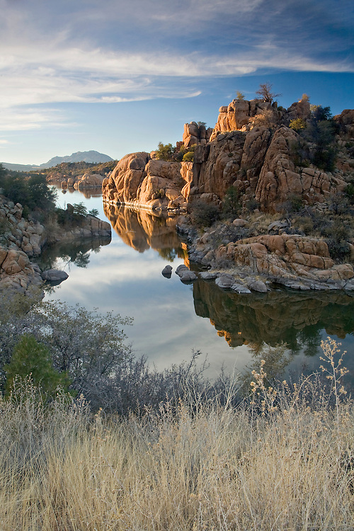 Peavine Cove on Watson Lake with Granite Mountain in the background near Precsott, Arizona