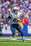 21 September 2014: San Diego Chargers running back Branden Oliver rushes in the open field for a five yard gain against the Buffalo Bills at Ralph Wilson Stadium in Orchard Park, NY. The Chargers defeated the Bills 22-10 in AFC play. Mandatory Credit: Ed Wolfstein Photo *** RAW (NEF) Image File Available ***