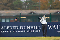 Louis Oosthuizen (RSA) on the 17th tee during round 4 of the Alfred Dunhill Links Championship at Old Course St. Andrew's, Fife, Scotland. 07/10/2018.<br /> Picture Thos Caffrey / Golffile.ie<br /> <br /> All photo usage must carry mandatory copyright credit (&copy; Golffile | Thos Caffrey)