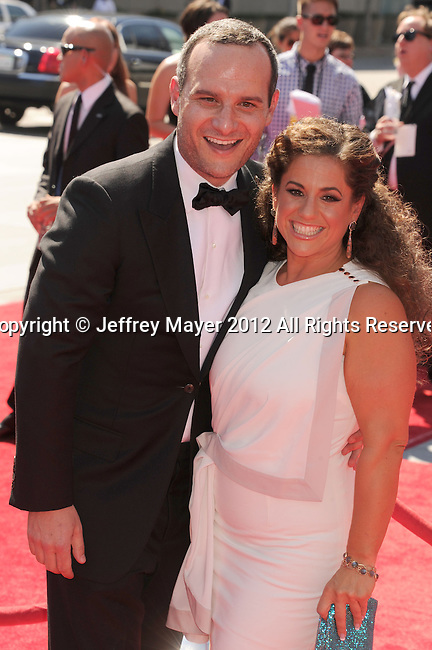 LOS ANGELES, CA - SEPTEMBER 15: Marissa Jaret Winokur and Judah Miller arrive at the 2012 Primetime Creative Arts Emmy Awards at Nokia Theatre L.A. Live on September 15, 2012 in Los Angeles, California.