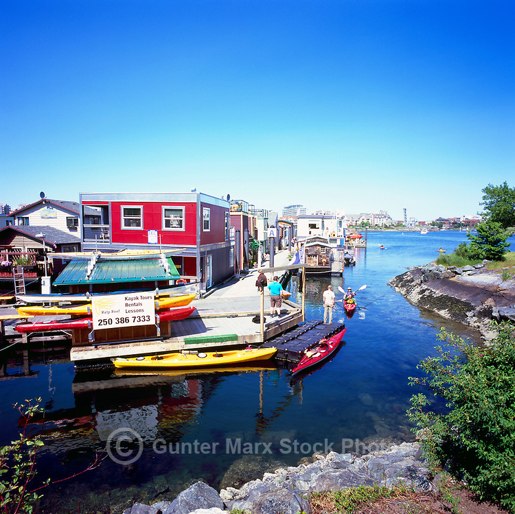 Victoria, BC, Vancouver Island, British Columbia, Canada - Floating Houses and Kayak Tours and Rentals in Float Home Village, at Fisherman's Wharf in Victoria Harbour