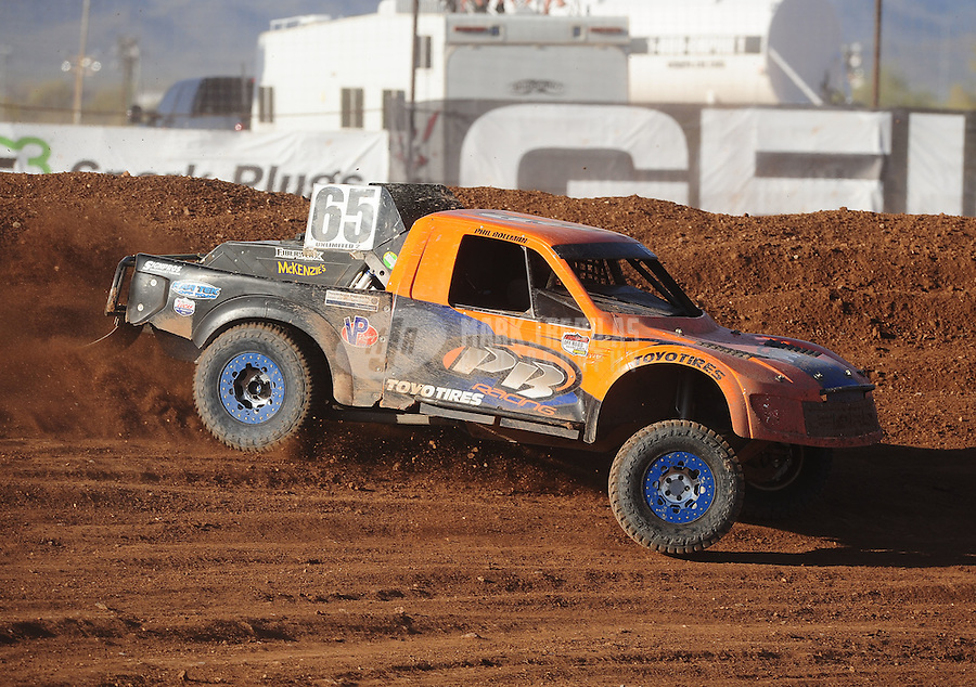 Apr 17, 2011; Surprise, AZ USA; LOORRS driver Phil Bollman (65) during round 4 at Speedworld Off Road Park. Mandatory Credit: Mark J. Rebilas-