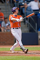 Jeff Schaus #3 of the Clemson Tigers follows through on his swing versus the Duke Blue Devils at Durham Bulls Athletic Park May 22, 2009 in Durham, North Carolina.  (Photo by Brian Westerholt / Four Seam Images)