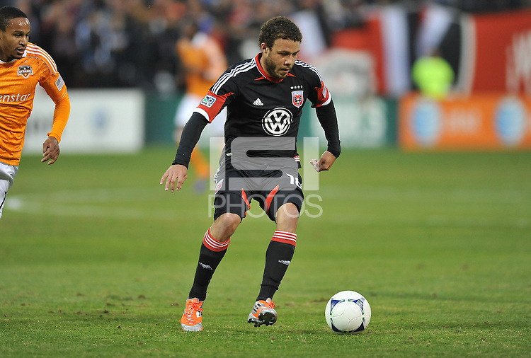 D.C. United midfielder Nick DeLeon (18) D.C. United tied The Houston Dynamo 1-1 but lost in the overall score 4-2 in the second leg of the Eastern Conference Championship at RFK Stadium, Sunday November 18, 2012.