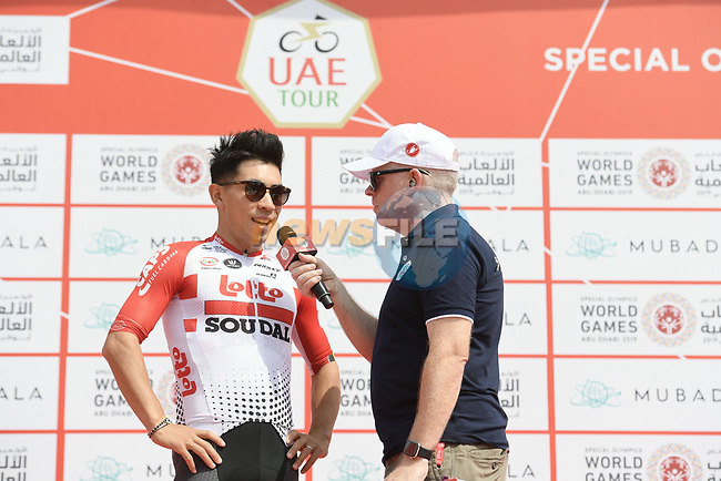 Caleb Ewan (AUS) Lotto-Soudal talks to Anthony McCrossan at sign on before the start of Stage 2 of the 2019 UAE Tour, running 184km form Yas Island Yas Mall to Abu Dhabi Breakwater Big Flag, Abu Dhabi, United Arab Emirates. 25th February 2019.<br /> Picture: LaPresse/Fabio Ferrari | Cyclefile<br /> <br /> <br /> All photos usage must carry mandatory copyright credit (© Cyclefile | LaPresse/MFabio Ferrari)