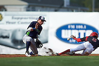 Vermont Lake Monsters second baseman Trace Loehr (6) waits for a throw as Anfernee Seymour (3) slides in during a game against the Batavia Muckdogs August 9, 2015 at Dwyer Stadium in Batavia, New York.  Vermont defeated Batavia 11-5.  (Mike Janes/Four Seam Images)
