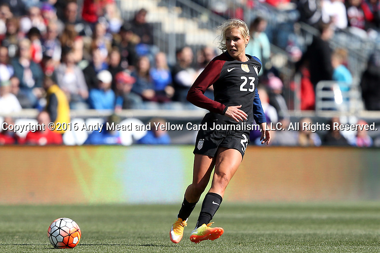 10 April 2016: Allie Long (USA). The United States Women's National Team played the Colombia Women's National Team at Talen Energy Stadium in Chester, Pennsylvania in an women's international friendly soccer game. The U.S. won the match 3-0.