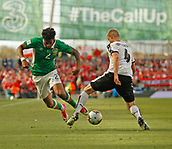 June 11th 2017, Dublin, Republic Ireland; 2018 World Cup qualifier, Republic of Ireland versus Austria; Martin Hinteregger (Austria) stops Cyrus Christie's (Republic of Ireland) advances