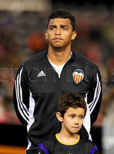 18.02.2016. Mestalla Stadium, Valencia, Spain. Europa League. Valencia versus Rapid Wien. Defender Aderlan Santos Looks on