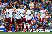 Burnley players celebrate the opening goal <br /> <br /> Photographer Craig Mercer/CameraSport<br /> <br /> The Premier League - Chelsea v Burnley - Saturday August 12th 2017 - Stamford Bridge - London<br /> <br /> World Copyright &copy; 2017 CameraSport. All rights reserved. 43 Linden Ave. Countesthorpe. Leicester. England. LE8 5PG - Tel: +44 (0) 116 277 4147 - admin@camerasport.com - www.camerasport.com