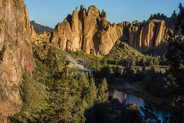 Crooked River, Smith Rock State Park, and bald eagle nest (ponderosa pine in left of center foreground).  Oregon.  April.