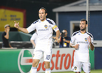LA Galaxy midfielder Landon Donovan (10) celebrates his goal from a penalty kick in the 58th minute of the game.. LA Galaxy defeated DC United 2-1 at RFK Stadium, Saturday July 18, 2010.