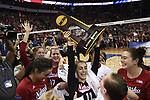 KANSAS CITY, MO - DECEMBER 16: Kenzie Maloney (11) of the University of Nebraska hoists the national championship trophy following the Division I Women's Volleyball Championship held at Sprint Center on December 16, 2017 in Kansas City, Missouri. (Photo by Jamie Schwaberow/NCAA Photos via Getty Images)