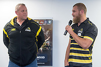 Lions captain Brad Shields (R speaks with coach Chris Gibbes during the Wellington Lions season launch at 89 Courtenay Place in Wellington, New Zealand on Friday, 11 August 2017. Photo: Marty Melville / lintottphoto.co.nz