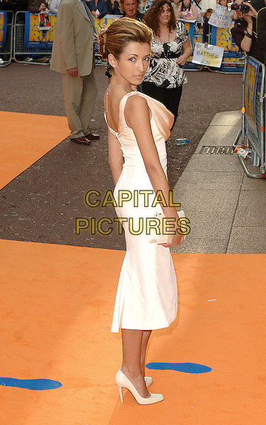 "INDIA DE BEAUFORT.""Run Fat Boy Run"" premiere at the Odeon West End, London, England. .September 3rd, 2007.full length white dress cream cowel neck dress clutch purse .CAP/BEL.©Belcher/Capital Pictures"