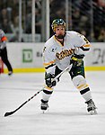 16 February 2008: University of Vermont Catamounts' forward Wahsontiio Stacey, a Freshman from Kahnawake, Quebec, in action against the Merrimack College Warriors at Gutterson Fieldhouse in Burlington, Vermont. The Catamounts defeated the Warriors 2-1 for their second win of the 2-game weekend series...Mandatory Photo Credit: Ed Wolfstein Photo