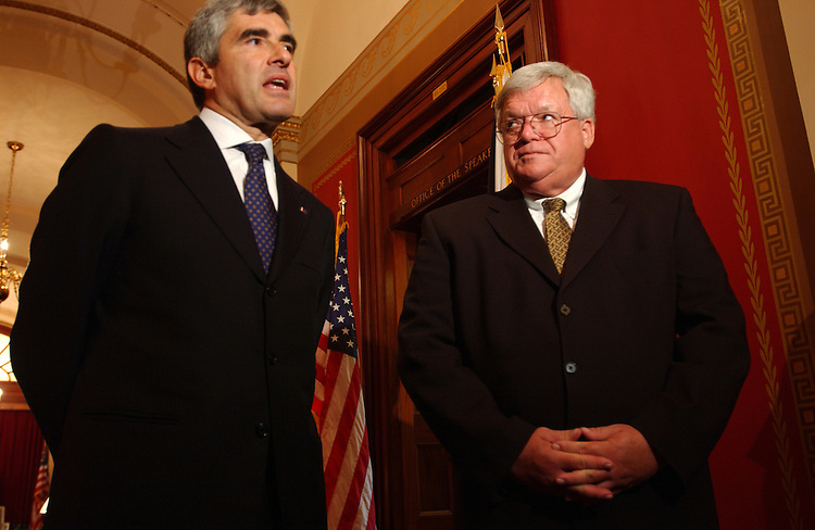 Speaker of the Italian Parliament Pier Ferolinando Casini and Speaker of the House Dennis Hastert, R-Ill., talk with the press after their meeting.