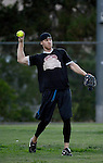 POWAY, CA - JULY 16:  Mike Scifres of the San Diego Chargers throws a ball to first base for an out for his team the &quot;Valley Farm League&quot;  during their semi-final game in the Regular Joe League at the Poway Sportsplex Softball Field on July 16, 2014 in Poway, California. (CREDIT: Donald Miralle for the Wall Street Journal) <br /> chargers