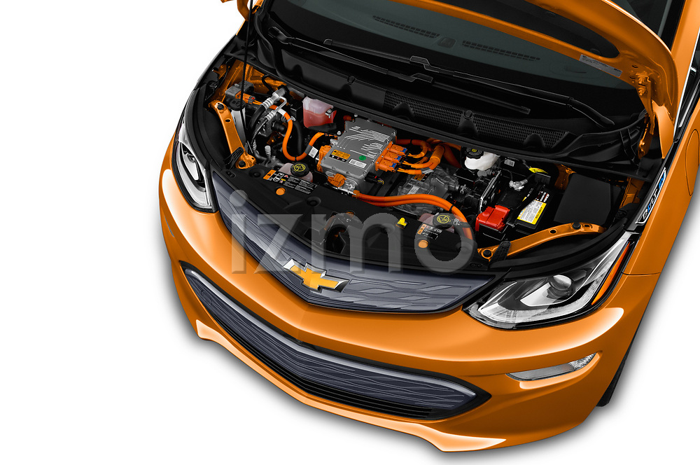 Car Stock 2017 Chevrolet Bolt-EV Premier 5 Door Hatchback Engine  high angle detail view