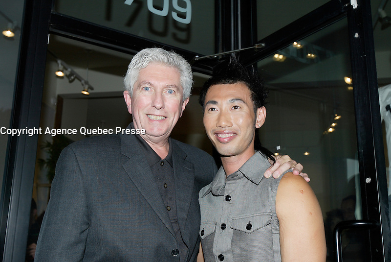 Montreal (QC) CANADA, October 3rd 2007 -<br /> Gilles Duceppe, leader of the Bloc Quebecois (L) at the Launch of Montreal Designer Dinh Ba, at his boutique on Amherst street in Montreal.<br /> <br /> <br /> photo : (c) &uml;Pierre Roussel -  images Distribution