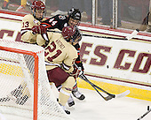 Johnny Gaudreau (BC - 13), Dax Lauwers (NU - 44), Steven Whitney (BC - 21) - The Boston College Eagles defeated the visiting Northeastern University Huskies 3-0 after a banner-raising ceremony for BC's 2012 national championship on Saturday, October 20, 2012, at Kelley Rink in Conte Forum in Chestnut Hill, Massachusetts.