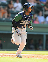 Infielder Ruben Sosa (12) of the Lexington Legends, a Houston Astros affiliate, in a game against the Greenville Drive on July 22, 2012, at Fluor Field at the West End in Greenville, South Carolina. Lexington won, 13-7. (Tom Priddy/Four Seam Images)