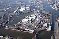 Unikai: EUROPA, DEUTSCHLAND, HAMBURG, (EUROPE, GERMANY), 06.02.2018 Am O'Swaldkai arbeitet die groesste auf rollende Verladungen spezialisierte Hafenanlage im Hamburger Hafen. Die UNIKAI Lagerei- und Speditionsgesellschaft fertigt dort moderne RoRo-Schiffe ebenso ab wie Projektladung und Forstprodukte. Als Kompetenzzentrum für die Automobilindustrie.