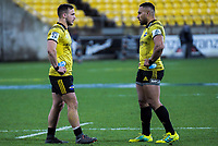 Wes Goosen and Ngani Laumape during the Super Rugby match between the Hurricanes and Blues at Westpac Stadium in Wellington, New Zealand on Saturday, 7 July 2018. Photo: Dave Lintott / lintottphoto.co.nz