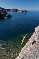 A kayaker on Lake Superior at Pukaskwa National Park in Ontario Canada