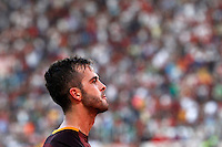 Calcio, Serie A: Roma vs Juventus. Roma, stadio Olimpico, 30 agosto 2015.<br /> Roma&rsquo;s Miralem Pjanic celebrates after scoring during the Italian Serie A football match between Roma and Juventus at Rome's Olympic stadium, 30 August 2015.<br /> UPDATE IMAGES PRESS/Riccardo De Luca