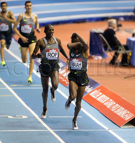 February 18th 2017,  Birmingham, Midlands, England; IAAF The Müller Indoor Grand Prix Athletics meeting; Mo Farah (GBR) crosses the finish line with his arms covering his head after winning the final of the Men's 5000 Metres in a new National Record time of 13:09.16