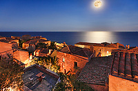 Moonlight at the Byzantine castle-town of Monemvasia in Greece