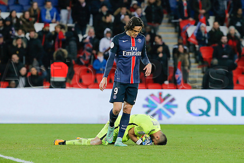 05.03.2016. Paris, France. French League 1 football. Paris St Germain versus Montpellier.  Laurent PIONNIER (Montpellier), saves at the feet of Edinson Roberto Paulo Cavani Gomez (psg)