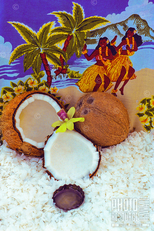 Still life of Manoi, Tahitian coconut oil, with coconut shells & shavings
