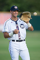 Glen Batson (35) of the High Point-Thomasville HiToms warms up in the outfield prior to the game against the Asheboro Copperheads at Finch Field on June 12, 2015 in Thomasville, North Carolina.  The HiToms defeated the Copperheads 12-3. (Brian Westerholt/Four Seam Images)