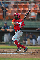 Kevin Williams Jr. (5) of the Orem Owlz follows through on his swing against the Helena Brewers at Kindrick Legion Field on August 17, 2017 in Helena, Montana.  The Owlz defeated the Brewers 5-2.  (Brian Westerholt/Four Seam Images)