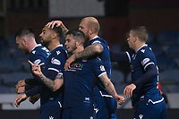 1st November 2019; Dens Park, Dundee, Scotland; Scottish Championship Football, Dundee Football Club versus Greenock Morton; Kane Hemmings of Dundee is congratulated after scoring for 1-0 in the 62nd minute - Editorial Use