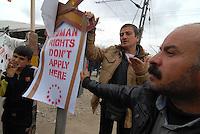 Idomeni / Greece 03/04/2016<br /> Refugees blocked the railway line crossing Idomeni camp to request the opening of borders. <br /> Photo Livio Senigalliesi