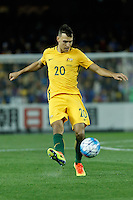 October 11, 2016: TRENT SAINSBURY (20) of Australia kicks the ball during a 3rd round Group B World Cup 2018 qualification match between Australia and Japan at the Docklands Stadium in Melbourne, Australia. Photo Sydney Low Please visit zumapress.com for editorial licensing. *This image is NOT FOR SALE via this web site.