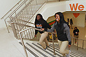 Terr'nique Delair and Domonique Crosby walk to class together at George Washington Carver High School.