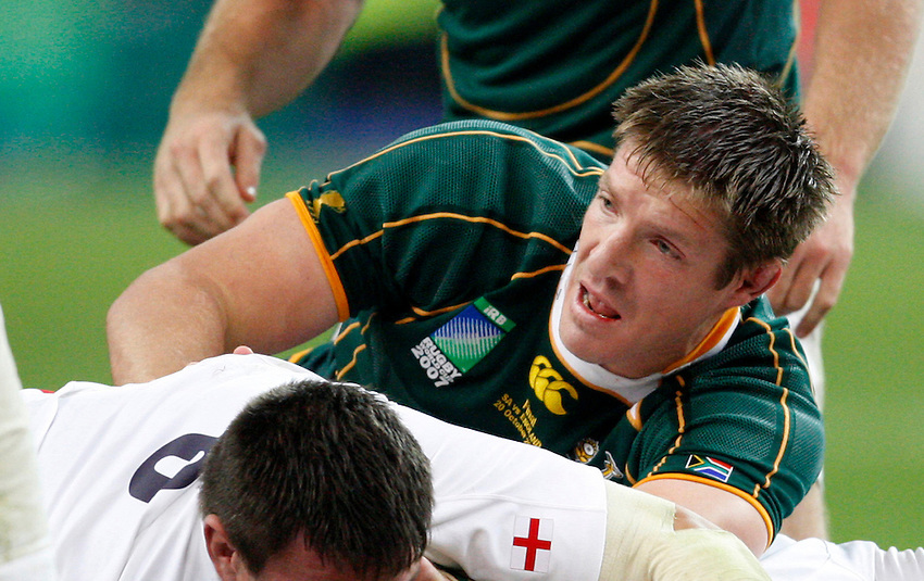 Photo: Richard Lane/Richard Lane Photography..England v South Africa. The Final of the IRB Rugby World Cup, RWC 2007. 20/10/2007. .South Africa's Bakkies Botha.