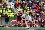 STONY BROOK, NY - MAY 27: Hanna Haven #4 of the James Madison Dukes is defended by Elizabeth Miller #3 of the Boston College Eagles during the Division I Women's Lacrosse Championship held at Kenneth P. LaValle Stadium on May 27, 2018 in Stony Brook, New York. (Photo by Ben Solomon/NCAA Photos via Getty Images)