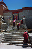 Nuns of Tibet's indigenous religion of Bon visit Xingchan Monastery in Xigaze, Tibet, China, 2015. The original Bon (Yungdrung Bon) was founded around 16,000 BC,  according to the followers who are called Bonpo. Today, Bon can be found in the more isolated parts of northern and western Tibet. According to the Chinese census, about 10% of Tibetans (about 100,000 people) follow Bon.